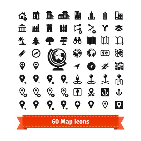 60 Mappa icone set. Per l'utilizzo in servizi mappa internet e la modifica della mappa. Contiene anche edifici. EPS 10 vector set. Vettoriali