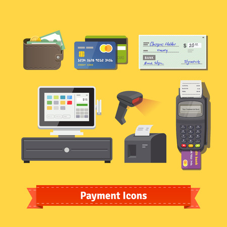 cash machine: Payment flat icon set. All for business payments: POS terminal with barcode scanner and receipt printer, wallet, credit cards and check. EPS 10 vector.