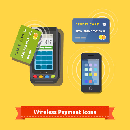 nfc: Wireless business payment flat icon set. Wireless POS terminal scanning a credit card and mobile phone with NFC. EPS 10 vector.