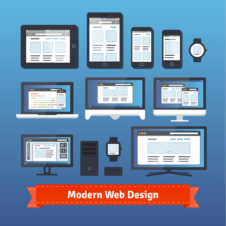 developing: Modern responsive web design developing on all mobile and desktop devices. EPS 10 vector.