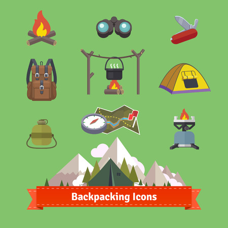 camp: Backpacking and hiking flat icon set. EPS 10 vector.