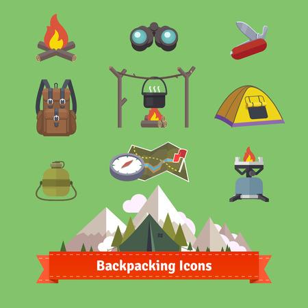 acampar: Haciendo excursionismo y senderismo conjunto de iconos plana. 10 EPS vector. Vectores