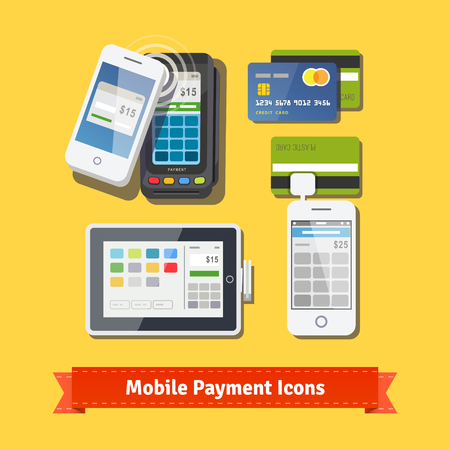 terminal: Mobile business payment flat icon set. Wireless POS terminal scanning NFC mobile phone payment. Accepting credit cards with tablet and phone adapters. EPS 10 vector. Illustration