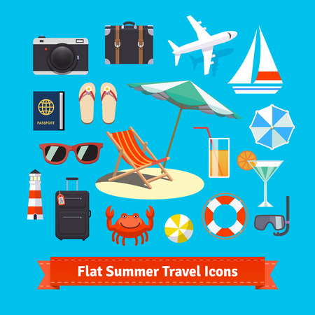 Vlakke pictogrammen zomer reizen. Vakantie en toerisme. EPS-10 vector set. Stock Illustratie