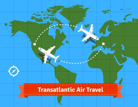 waypoint: Transatlantic jet plane travel concept. EPS 10 vector.