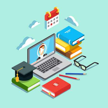 Online education concept. Laptop with opened text document next to stacked books, mortar board student cap, pencils and glasses. Flat style vector illustration isolated on cyan background. Vettoriali