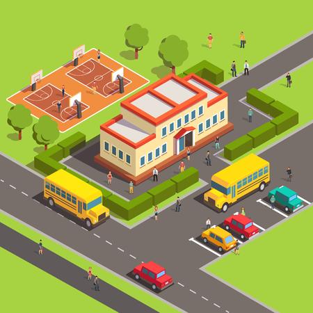Izometryczny budynek szkoły z ludźmi, dziedziniec i na podwórku, parking, autobus, boisko do koszykówki. Mieszkanie w stylu ilustracji wektorowych na białym tle.