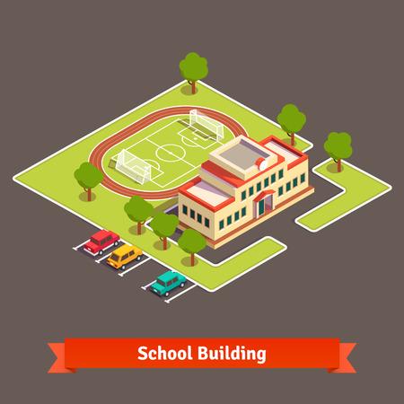 아이소 메트릭 대학 캠퍼스 또는 정원과 주차장에 축구장과 학교 건물. 플랫 스타일 벡터 일러스트 레이 션 흰색 배경에 고립입니다.