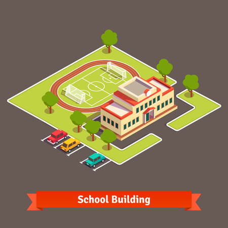 Isometric college campus or school building with soccer field in the courtyard and parking lot. Flat style vector illustration isolated on white background.