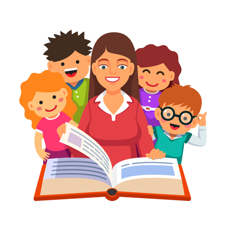 Teacher reading big book to a young little students. Flat style vector illustration isolated on white background.
