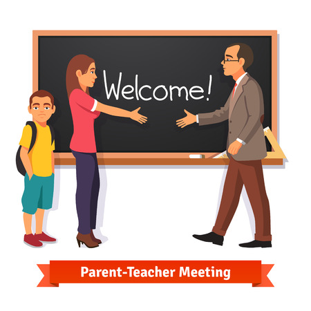 teacher classroom: Teacher and parent meeting in classroom. Boy kid student with mother in school. Flat style vector illustration isolated on white background.