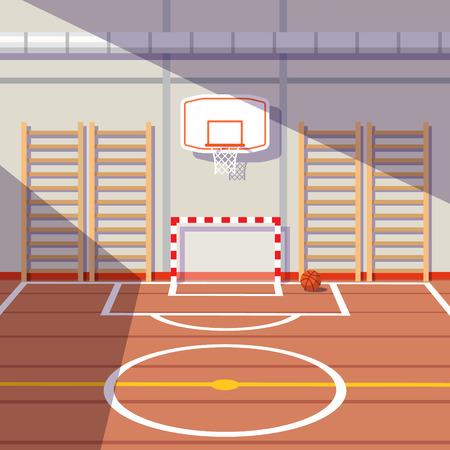 cancha de basquetbol: Sun encendió la escuela o la universidad sala de gimnasia con la meta del fútbol y cancha de baloncesto. ilustración vectorial de estilo plano.