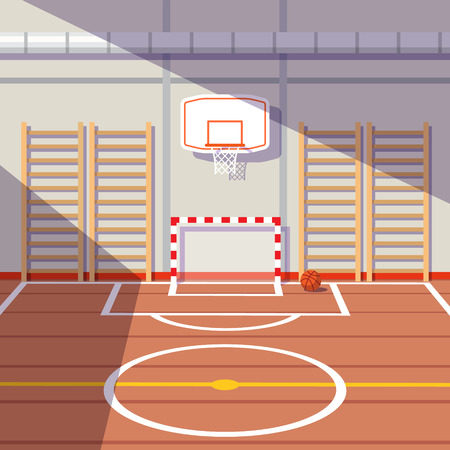 gym: Sun lit school or university gym hall with soccer goal and basketball hoop. Flat style vector illustration.