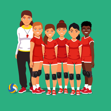 mixed race children: School women volleyball team. Girls standing with their coach. Flat style vector illustration isolated on green background.