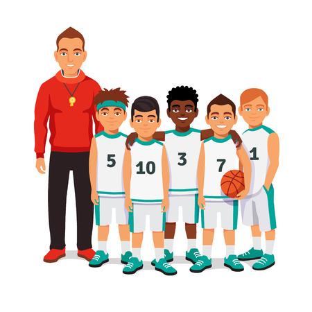 balones deportivos: equipo masculino de baloncesto de la escuela de pie con su entrenador. ilustración vectorial de estilo plano aislado en el fondo blanco.