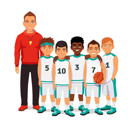 cartoon ball: School boys basketball team standing with their coach. Flat style vector illustration isolated on white background.