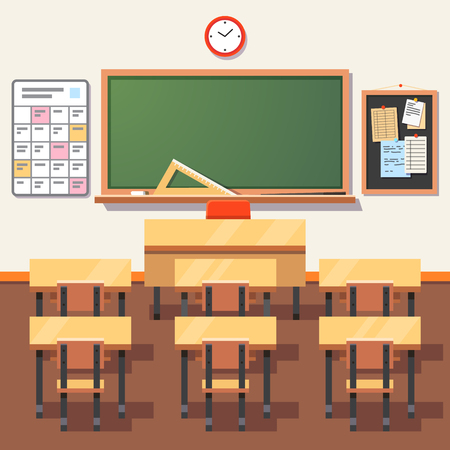 students in class: Empty school classroom with green chalkboard, teachers desk, pupils tables and chairs. Flat style vector illustration isolated on white background. Illustration