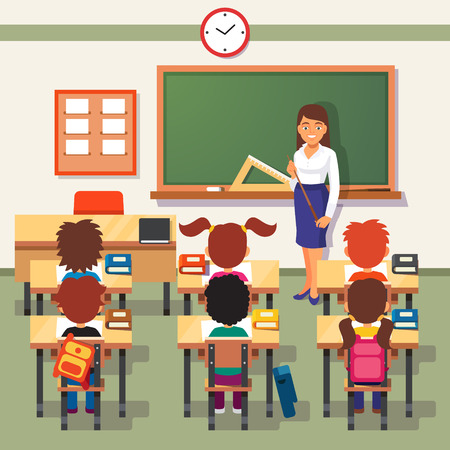 School lesson. Little students and teacher. Classroom with green chalkboard, teachers desk, pupils tables and chairs. Flat style cartoon vector illustration.