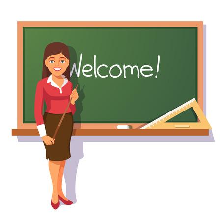 educators: Profesor sonriente con el puntero del pie de madera delante de la pizarra verde y recibe alumnos. ilustración vectorial de estilo plano aislado en el fondo blanco.