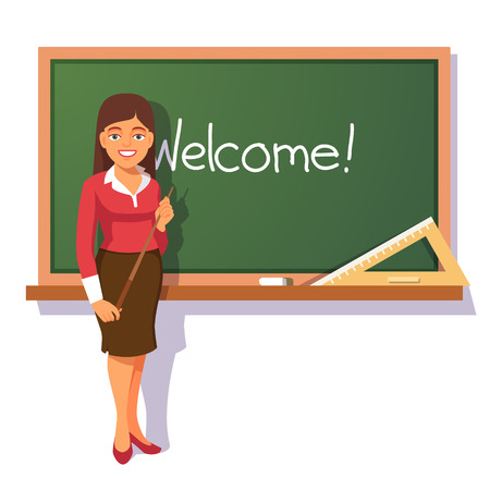 elementary student: Smiling teacher with wooden pointer standing in front of green chalkboard and welcoming students. Flat style vector illustration isolated on white background. Illustration