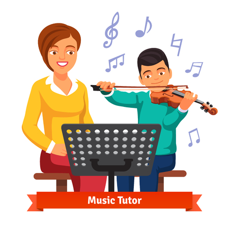 teenagers learning: Musical tutor woman teaching and practicing with kid boy violin student. Flat style vector illustration isolated on white background.