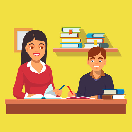 Woman teacher tutor tutoring boy kid at home. Mother helping son with homework. Flat style vector illustration isolated on white background. Illustration