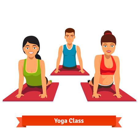 Yoga-Klasse Training. Junge und gesunde Menschen Asana Posen zu tun. Wohnung Stil Vektor-Illustration isoliert auf weißem Hintergrund.