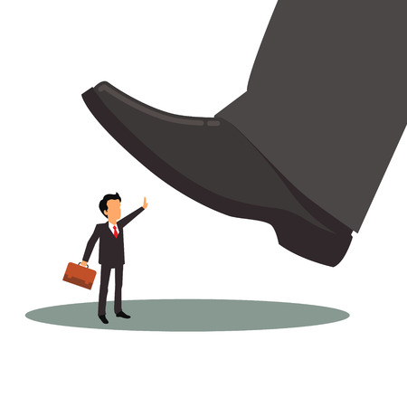 big foot: Business man in suit and with suitcase is oppressed by big corporation foot. Corporate depression concept. Flat style vector illustration isolated on white background. Illustration
