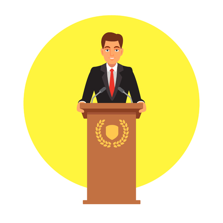 public speaker: Public speaker standing behind rostrum with emblem and speaking to microphones. Flat style vector illustration isolated on white background.