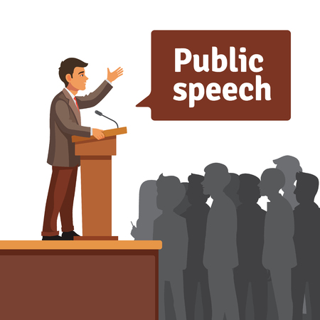 Public speaker standing behind rostrum speaking to gathered public. Flat style vector illustration isolated on white background.