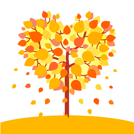 leafs: Heart shaped autumn tree. Fall love concept. Flat style vector illustration isolated on white background. Illustration