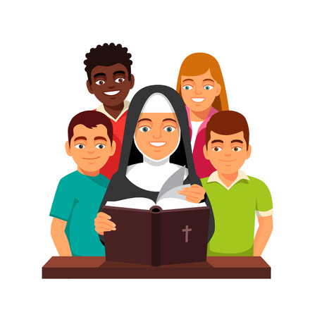 american stories: Nun is reading Holy Bible to mixed race teen children. Flat style vector illustration isolated on white background. Illustration