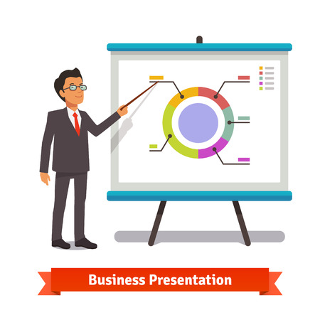 male  man: Business man mentor delivering presentation speech pointing on donut pie chart slide. Flat style vector illustration isolated on white background.