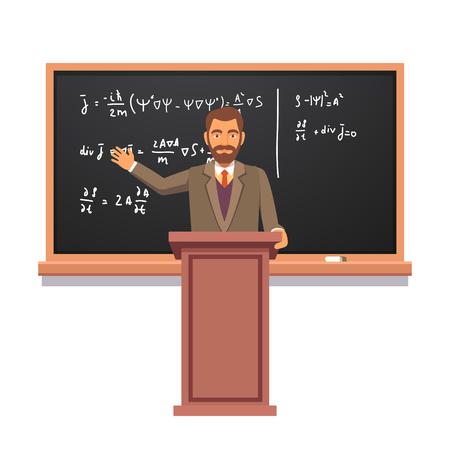 blackboard: profesor de la Universidad de pie en la tribuna delante del tablero con fórmulas que da una conferencia en la física cuántica. ilustración vectorial de estilo plano aislado en el fondo blanco.