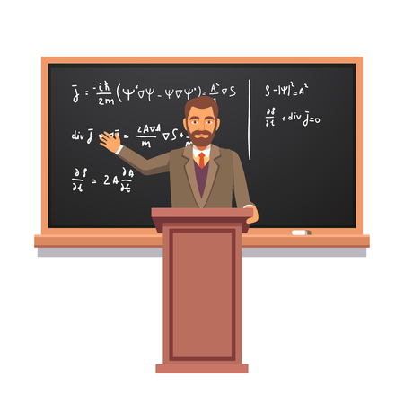 professors: University professor standing at the rostrum in front of backboard with formulas giving a lecture on quantum physics. Flat style vector illustration isolated on white background.