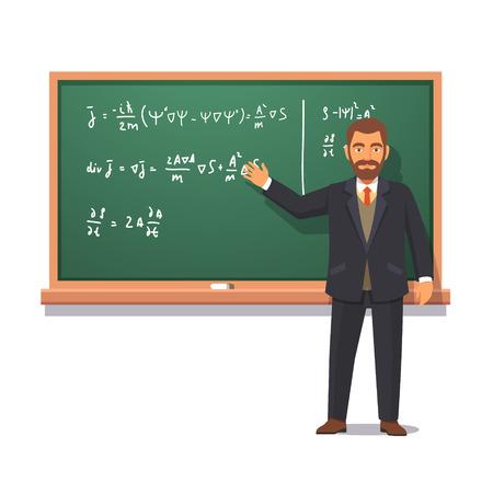 profesor: profesor de la Universidad de pie delante de la pizarra con f�rmulas que da una conferencia en la f�sica cu�ntica. ilustraci�n vectorial de estilo plano aislado en el fondo blanco. Vectores