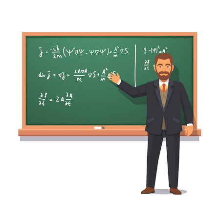University professor standing in front of chalkboard with formulas giving a lecture on quantum physics. Flat style vector illustration isolated on white background.
