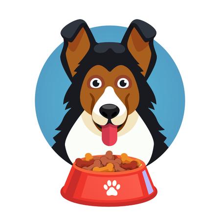 Hond huisdier gezicht met rode kom vol voedsel. Vlakke stijl vector illustratie geïsoleerd op een witte achtergrond.