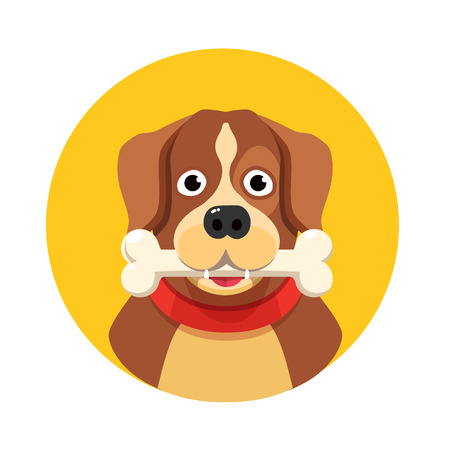 holding sign: Happy dog with big white bone. Flat style vector illustration isolated on white background. Illustration