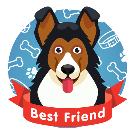 long tongue: Best friend symbol. Dog pet face with red ribbon. Flat style vector illustration isolated on white background.