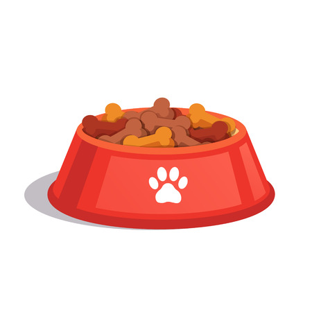 treats: Perro plato de comida seca. patatas fritas en forma de hueso. ilustración vectorial de estilo plano aislado en el fondo blanco. Vectores