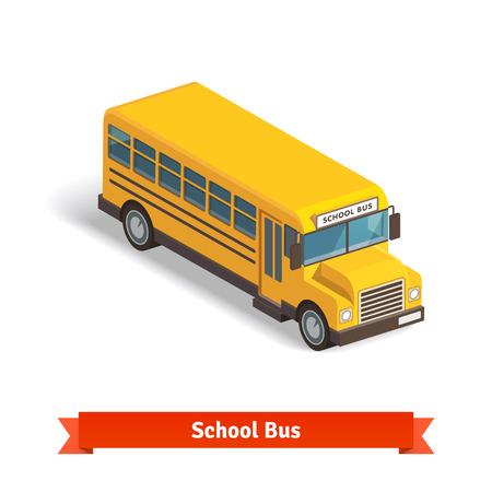 transporte escolar: autob�s escolar amarillo en 3D isom�trico. ilustraci�n vectorial de estilo plano aislado en el fondo blanco.
