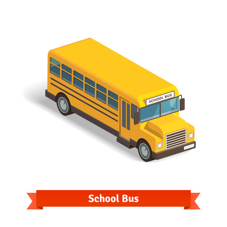 school icons: Yellow school bus in isometric 3d. Flat style vector illustration isolated on white background.