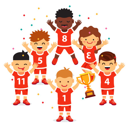 Kinderen sporten team wint een gouden beker. Gemengd ras kinderen blij winnende viering. Vlakke stijl vector illustratie geïsoleerd op een witte achtergrond.