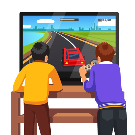 friends together: Two preschool kids playing video games together too close to tv screen. Gaming addiction concept. Flat style vector illustration isolated on white background. Illustration