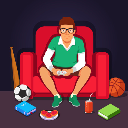 baseball cartoon: Young college student hipster playing video games sitting in big armchair.  Flat style vector illustration isolated on dark background. Illustration