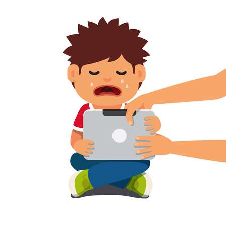 Computer addicted child holding out tablet pc and crying. Flat style vector illustration isolated on white background.