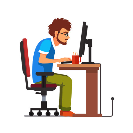 bent over: Middle age work addict geek sitting at the computer desk. Flat style vector illustration isolated on white background.