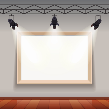 museum: Empty picture frame lit by spotlights in arts museum room hall. Flat style vector illustration template. Illustration
