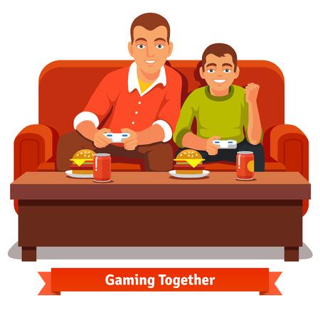 Vector father and son: Cha và con trai chơi trò chơi video trên ghế sofa màu đỏ và có một bữa ăn. Lớn và nhỏ anh trai. Flat phong cách vector minh họa bị cô lập trên nền trắng.
